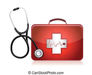 médico, estetoscópio, equipamento