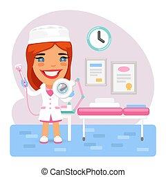 médico feminino, cosmetologists, esteticista, caricatura, escritório