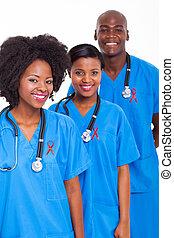 médico, fita, trabalhadores, vermelho, africano