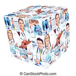médico, group., pessoas