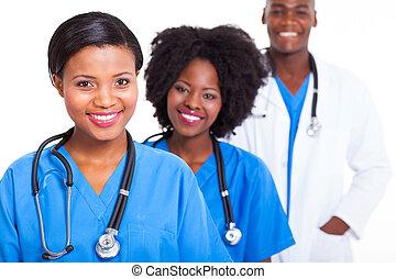 médico, grupo, trabalhadores, africano