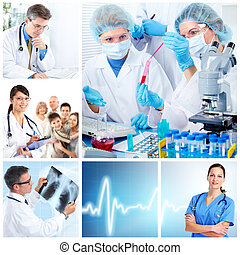 médico, laboratory., doutores, collage.