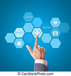 médico, medicina, interface, mão, computador, trabalhando, conceito, doutor, modernos