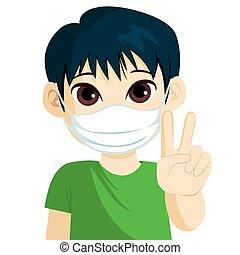 médico, menino, máscara, sinal vitória