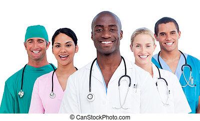 médico, positivo, retrato equipe