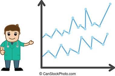 médico, stats, apresentando, doutor