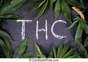 médico, thc, cannabis, folhas, fundo, formule, marijuana