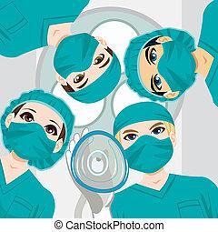 médico, trabalhando, equipe
