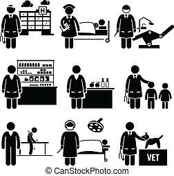 médico, trabalhos, hospitalar, cuidados de saúde