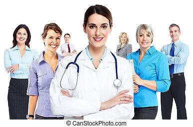 médico, woman., doutor