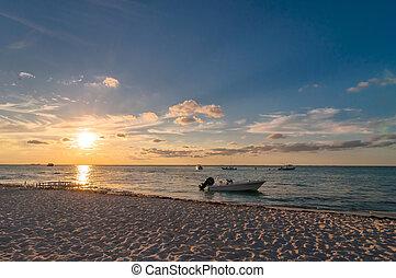 méxico, mujeres, tropicais, pôr do sol, isla, praia