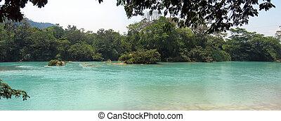 méxico, panorama, clara, agua, rio, vista lateral