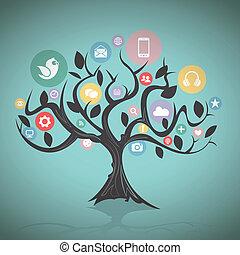 mídia, árvore, social