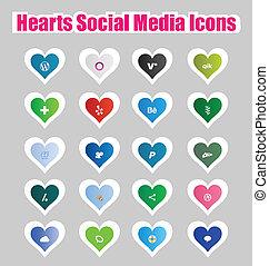 mídia, ícones, social, corações, 2