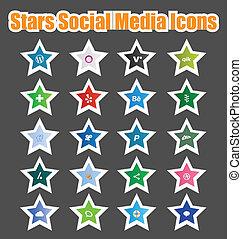 mídia, ícones, social, estrelas, 2