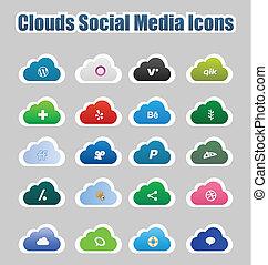 mídia, ícones, social, nuvens, 2