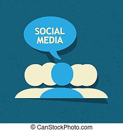 mídia, borbulho fala, social