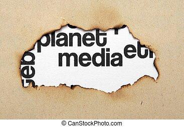mídia, buraco, papel, texto