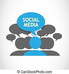 mídia, fala, social