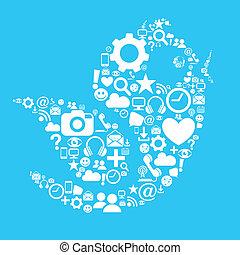 mídia, pássaro, social