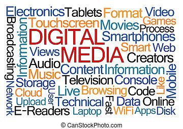 mídia, palavra, nuvem, digital