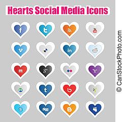 mídia, social, corações, 1, ícones