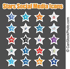 mídia, social, estrelas, 1, ícones