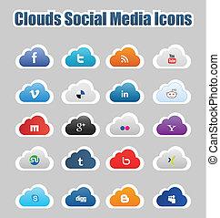 mídia, social, nuvens, 1, ícones