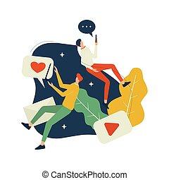 mídia, social, povos, vetorial, levitating, ilustração
