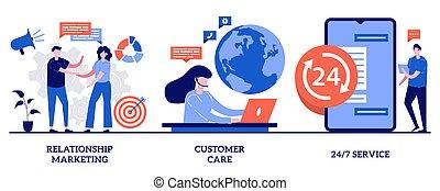 mídia, tech, programa, linha, metáfora, cliente, conceito, cuidado, vetorial, minúsculo, pessoas., 24, relacionamento, social, online, emergência, marketing, ilustração, 7, lealdade, set., apoio, serviço