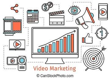 mídia, vetorial, social, fundo, vídeo, abstratos, strategy., marketing, conceito