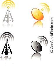 móvel, antena., comunicação, conce