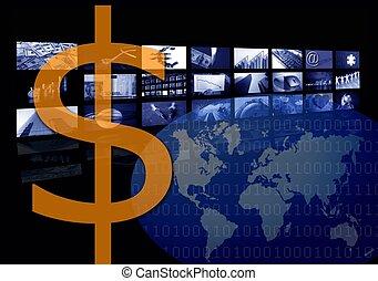 múltiplo, negócio, imagem, tela, dólar, incorporado