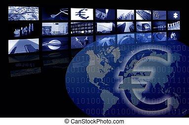 múltiplo, negócio, imagem, tela, incorporado, euro