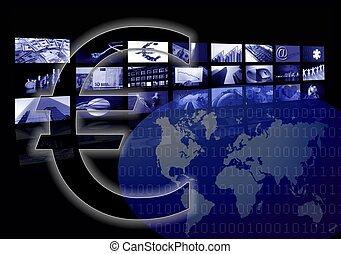 múltiplo, negócio, mapa, tela, mundo, incorporado, euro