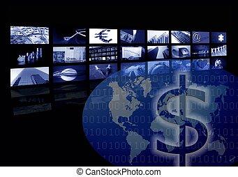 múltiplo, negócio, tela, mapa, incorporado, mundo