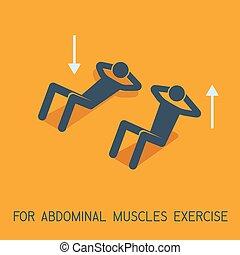 músculos, abdominal, ilustração, símbolo, vetorial, exercícios, icon., homem