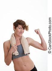 músculos, mulher, adelgaçar, ajustar