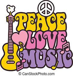 música, cores, paz, amor, luminoso