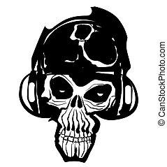 música, cranio, ícone