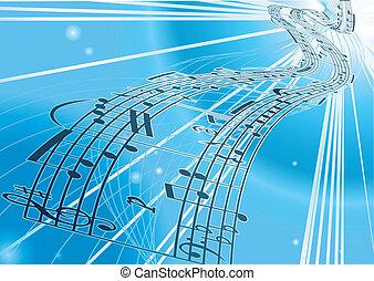 música folha, vetorial, fundo