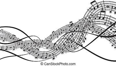 música, onda, projete elemento