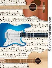música, violões, fundo