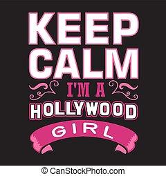 m, girl., hollywood, mantenha, pacata, bom, impressão
