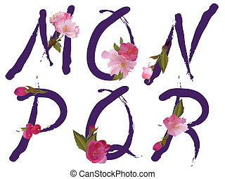 m, primavera, letras, alfabeto