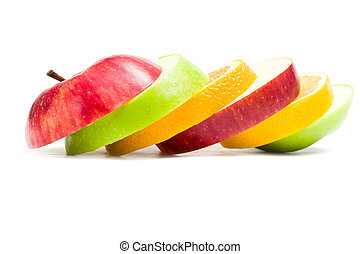 maçã cortam fatias, cima, forma, fruta, fim