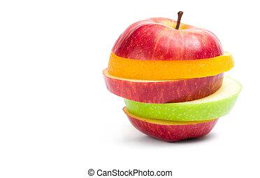 maçã cortam fatias, cima, forma, fruta, fim, vista