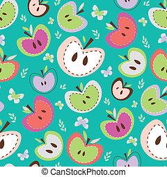 maçãs, seamless, fundo, retro
