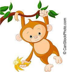macaco, bebê, árvore