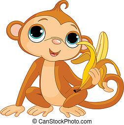 macaco, engraçado, banana